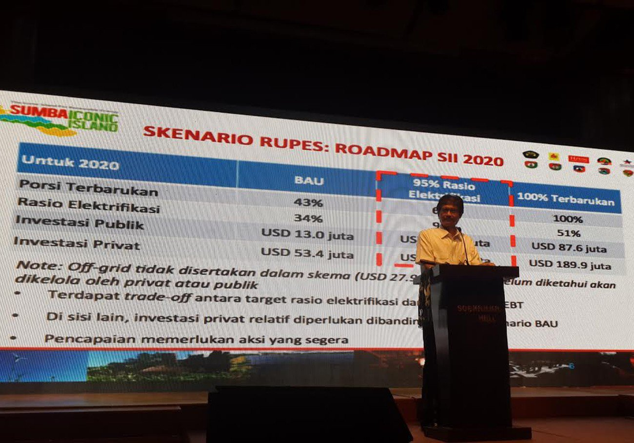 Rida Mulyana, director general for new and renewable energy at the Energy and Mineral Resources Ministry, opens an investment forum on Feb. 20, held to attract investors for a green energy project called Sumba Iconic Island initiative to powert Sumba Island in East Nusa Tenggara by 2020, mainly from clean energy. (JP/Stefani Ribka)